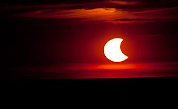 Solar Eclipse at Sunset over Lake Erie